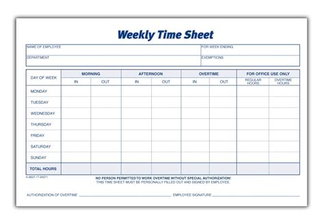 Time Sheet Template Weekly Time Sheet 2 Pk 1 Part 100 Pd