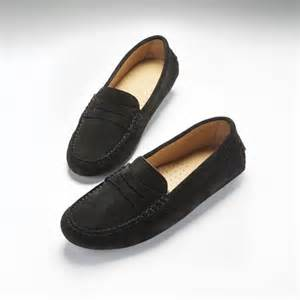 Deck Shoes Womens Uk by Women S Penny Driving Loafers Black Suede Hugs Amp Co
