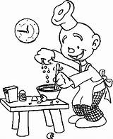 Baker Coloring Bread Dough Prepares sketch template