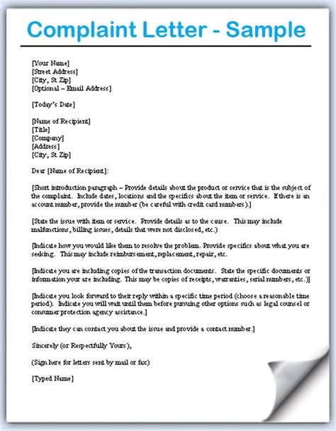 business complaint letter format  world  printables
