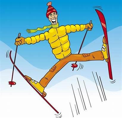 Ski Cartoon Jump Skier Funny Springen Jumping