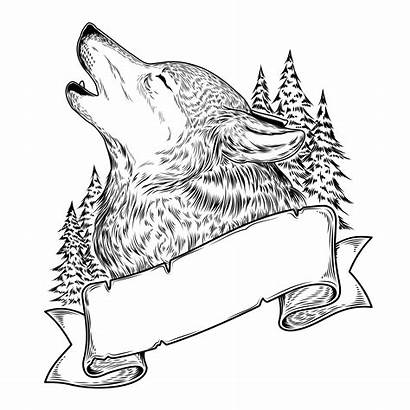 Wolf Howling Ribbon Clipart Graphics