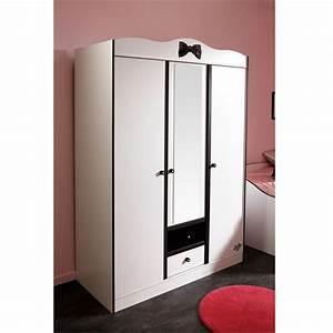Armoire Noir Et Blanc : pretty armoire 3 portes blanc noir achat vente armoire de chambre pretty armoire 3 portes ~ Preciouscoupons.com Idées de Décoration