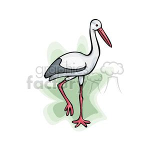 royalty  stork standing   foot  vector clip