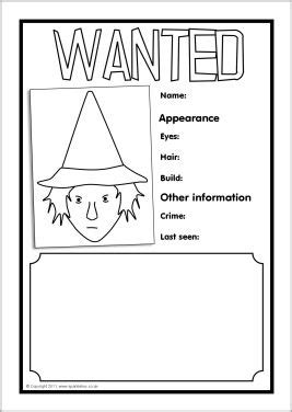 character description muck template witch wanted poster writing frames sb3721 sparklebox