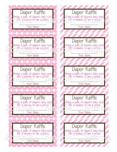 printable mm pink elephant baby shower diaper raffle