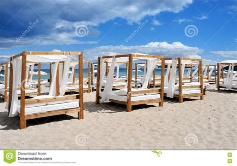ibiza beds beds and sunloungers in a club in ibiza spain stock