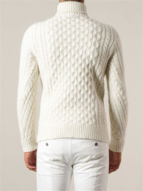 knit sweaters diesel cable knit turtleneck sweater in white for lyst