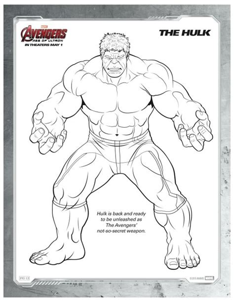 free printable marvel avengers hulk coloring page