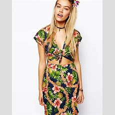 Asos Reclaimed Vintage Dress With Tie Front In Tropical