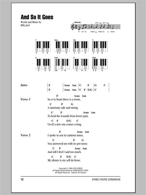 and so it goes sheet music billy joel piano chords lyrics