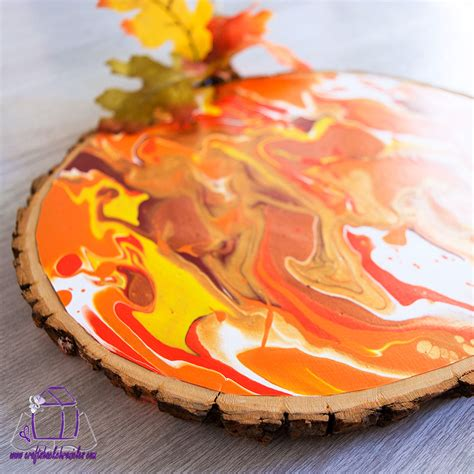 easy marbled wood slice pumpkin paint pouring tutorial