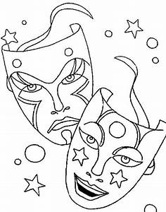 Comedy Tragedy Mask As Mardi Gras Symbol Coloring Picture