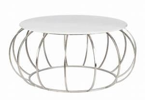 Table Basse Ronde Marbre : table basse ronde moderne en m tal argent et plateau marbre 107x107 ~ Teatrodelosmanantiales.com Idées de Décoration