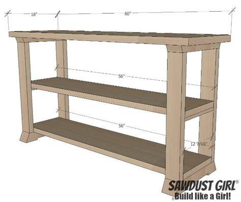 shelf console table  plans diy sofa table