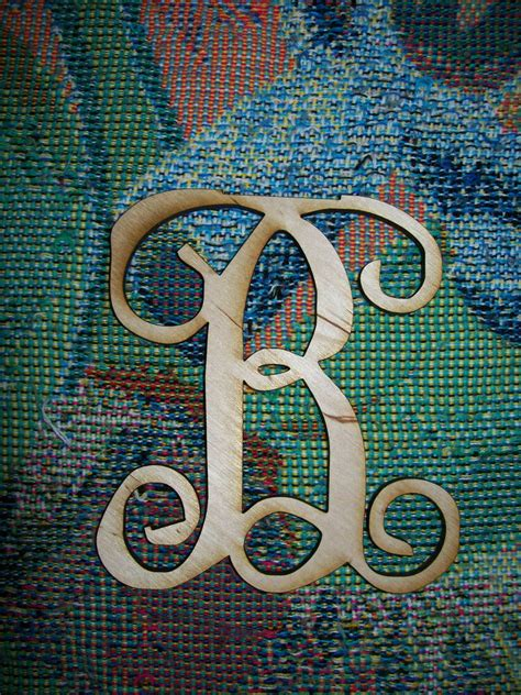 unfinished wood letters fancy vine monogram   tall