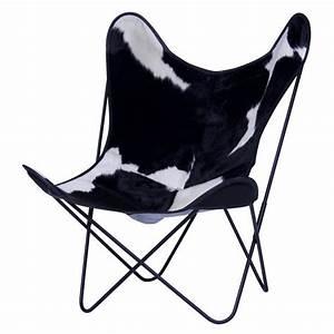 Fauteuil Peau De Vache : fauteuil aa butterfly en peau de vache noire blanche aa new design ~ Teatrodelosmanantiales.com Idées de Décoration