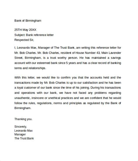 bank reference letter   samples format examples