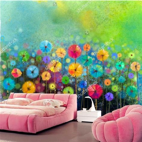 custom wallpaper  walls dabstract floral watercolor