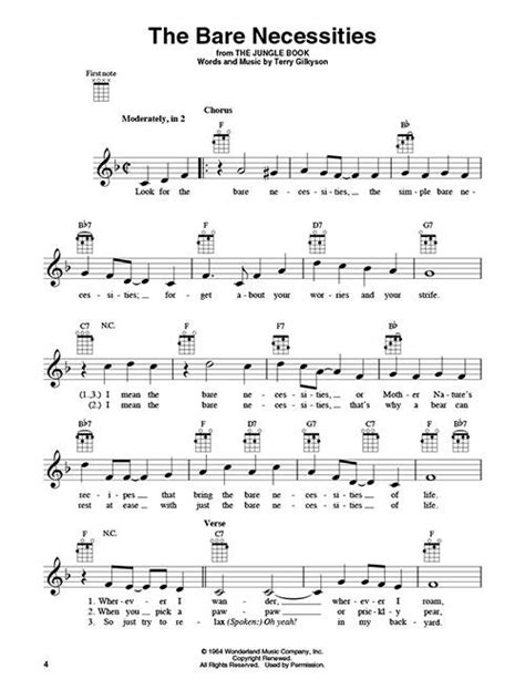This song is easy to sing along to, and it's just four chords repeating (am, f, c, g) throughout the whole song start to finish. Disney Hits for Ukulele 23 Songs to Strum & Sing Play-Uke Like The Pros