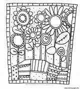 Coloring Simple Flowers Adult Pages Printable sketch template