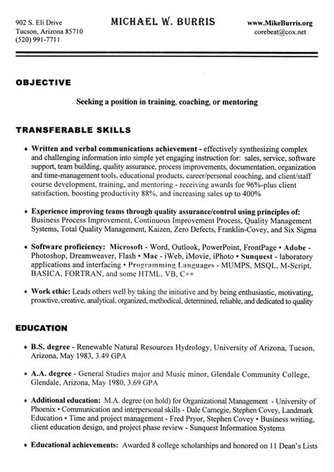 coaching resume example mike burris speaker author mikeburris org umakeitso