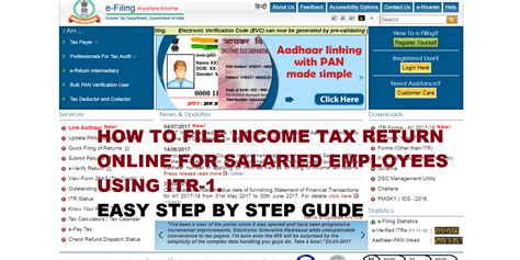 Income Tax Form For Salaried Employee by How To File Income Tax Return Itr 1 Online For Salaried