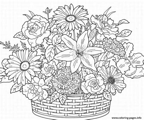 Print Cute Flower Adult Coloring Pages Coloring Home