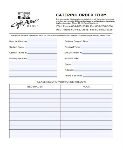catering order forms   excel ms word