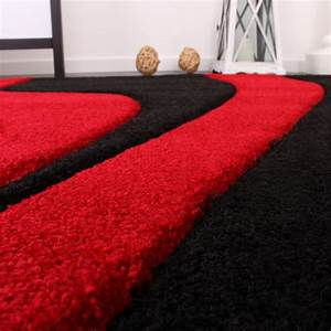 Designer teppich mit konturenschnitt wellen muster rot for Balkon teppich mit tapete rot weiß