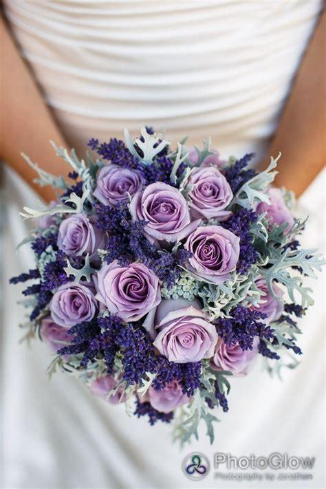 purple roses lavender  dusty miller bridal bouquet