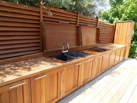 meuble cuisine exterieure bois cuisine extérieure à cassis menuiserie md menuiserie