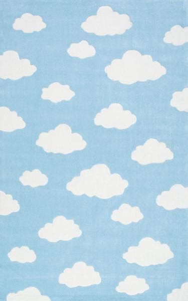 blue  white clouds rug