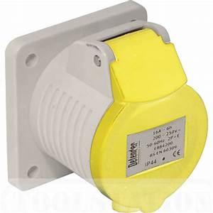 32 Amp 110 Volt Yellow Panel Socket