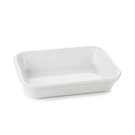 individual rectangle roasting dish white culinary porcelain