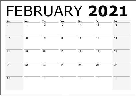 (g) good friday 2 april 2021(fri). February 2021 Calendar Printable / February 2021 Editable ...