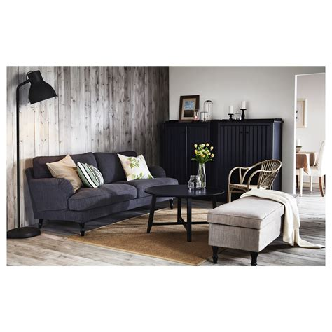 White Sofa Fabric by Stocksund Three Seat Sofa Nolhaga Dark Grey Black Wood Ikea