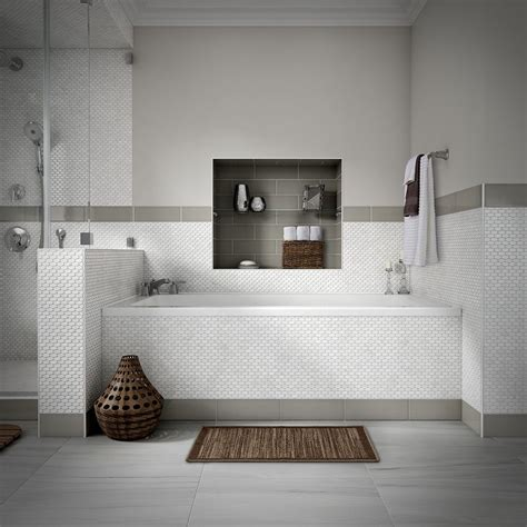 Lowes Bathroom Floor Tiles by Shop Style Selections Chique Gris Porcelain Floor Tile