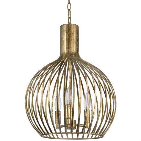 gold pendant light rajah regency antique gold metal 3 light cage
