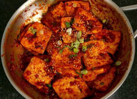 tofu cuisine spicy braised tofu dubu jorim 두부조림 recipe maangchi com
