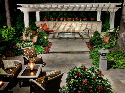Contemporary Outdoor Seating Area and Pergola Covered Spa
