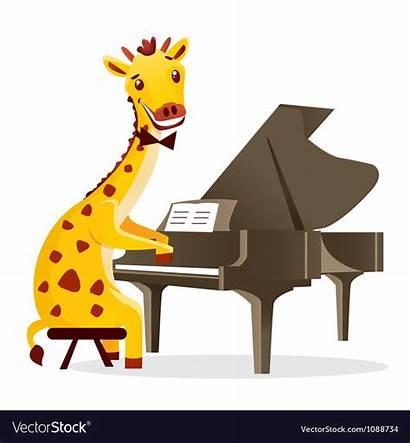 Piano Animals Giraffe Musical Vector Royalty