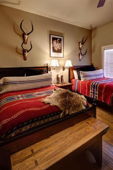 tribal print bedding pops  western style bedroom hgtv