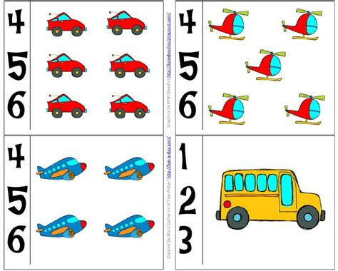 preschool transportation theme math activities 469 | Number cards to use along with a preschool transportation theme includes free printables