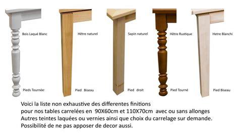 pieds de table en bois tournes table rectangulaire carrel 233 e avec 2 allonges made in fabrication artisanale