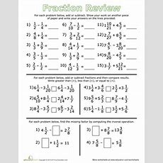 Fraction Review Addition, Subtraction, And Inequalities  Worksheet Educationcom