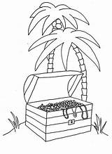 Coloring Tropical Island Treasure Chest Pages Opened Digging Young Boy Comments Coloringhome sketch template