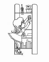 Coloring Bookshelf Pages Putting Shelves Template Templates sketch template