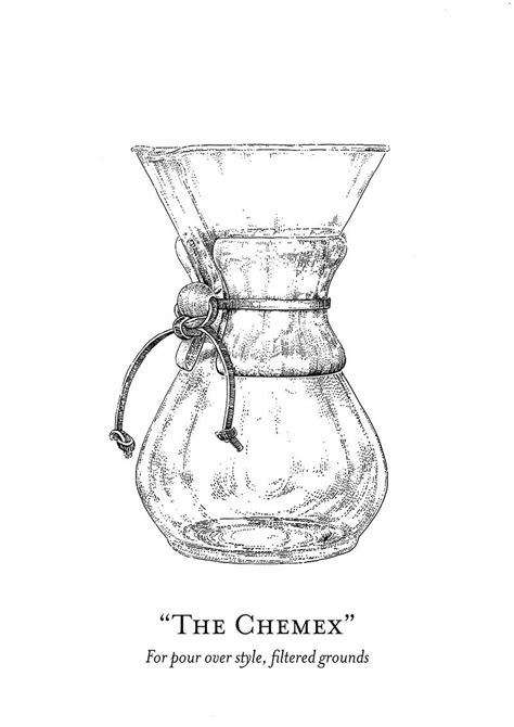 THE CHEMEX The Illustrated World of Mr. Chadwick - Coffee Brewing Methods Print | Coffee brewing