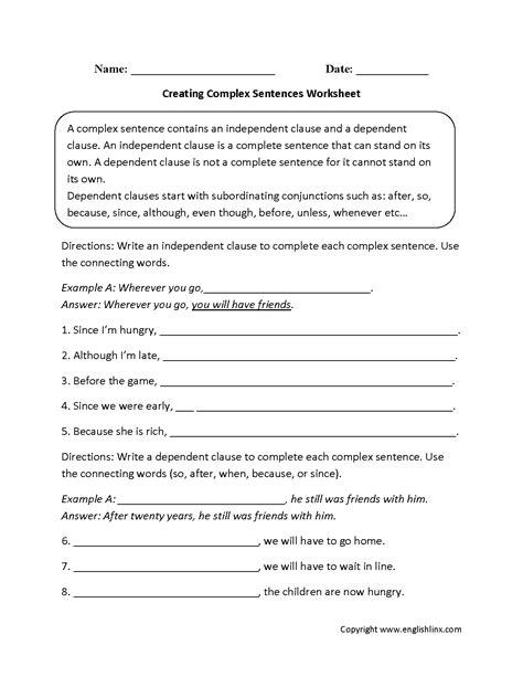creating complex sentences worksheet  izobrazheniyami